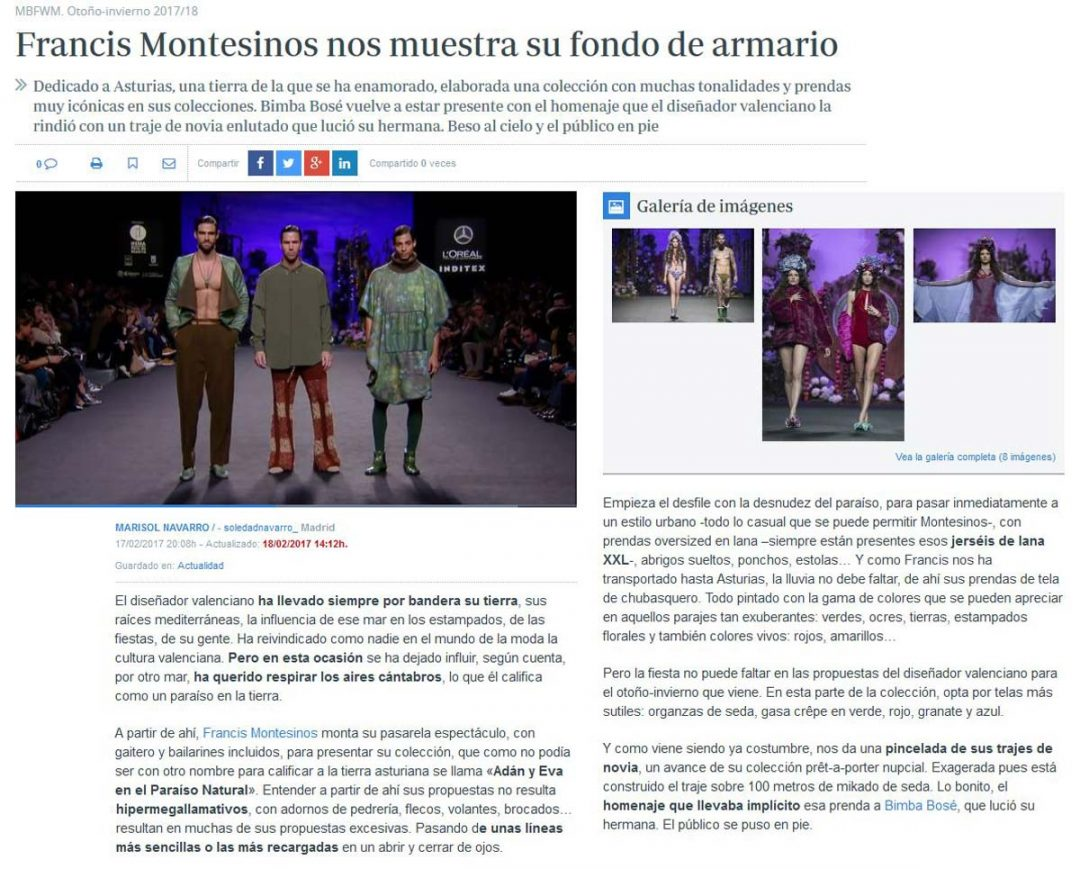 Publicación en el periódico ABC DE SEVILLA. Madrid Fashion Week, 2017