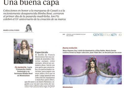 Publicación en el periódico ABC. Madrid Fashion Week, 2017