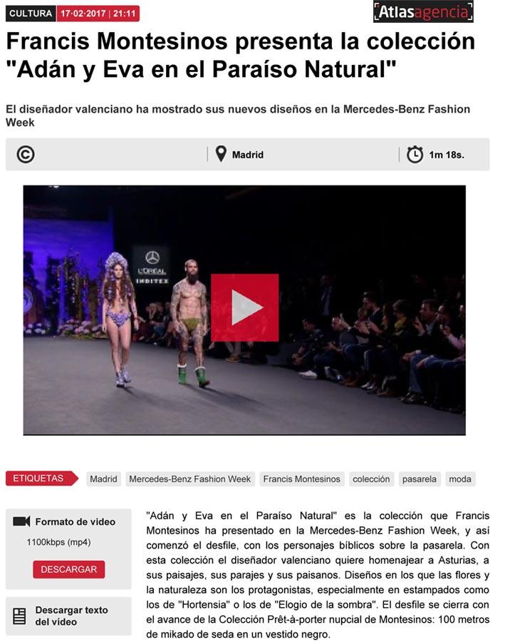 Publicación en el ATLAS NEWS. Madrid Fashion Week, 2017