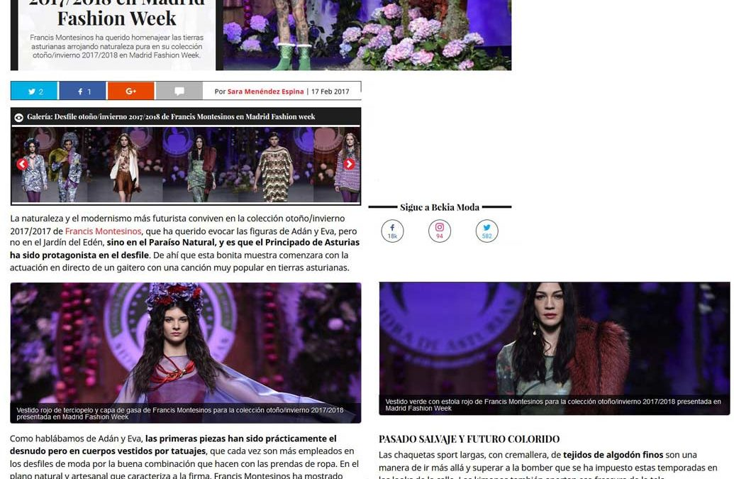 Publicación en la revista digital BEKIA MODA. Madrid Fashion Week, 2017