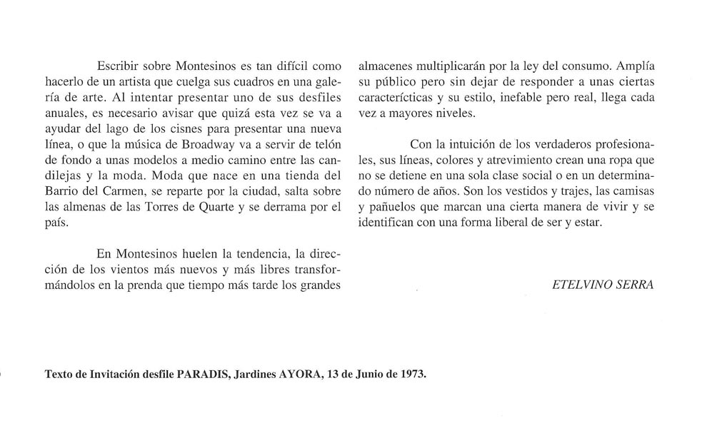 Etelvino Serra. Texto de invitación desfile Paradis, 1973