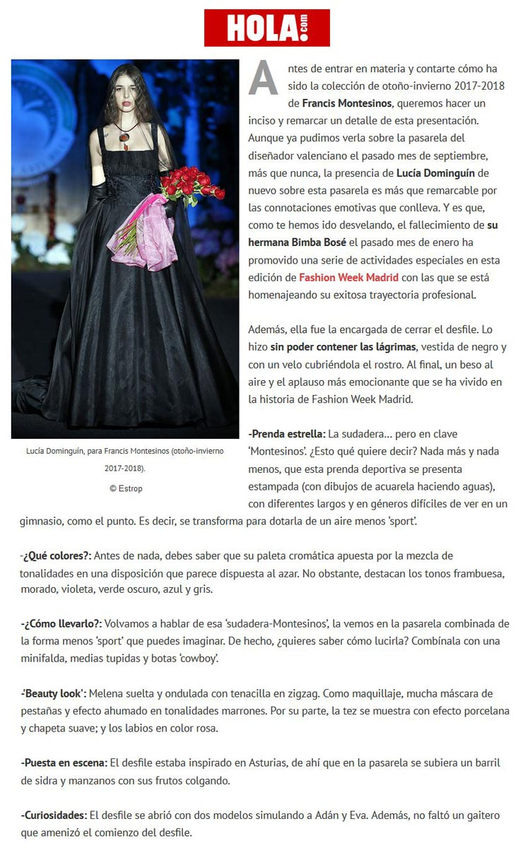 Publicación en la revista HOLA. Madrid Fashion Week, 2017