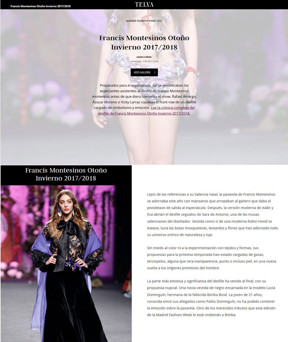Publicación en la revista digital TELVA. Madrid Fashion Week, 2017