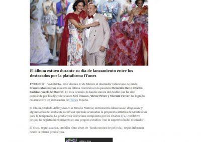 Publicación en el periódico digital VALENCIA PLAZA. Madrid Fashion Week, 2017