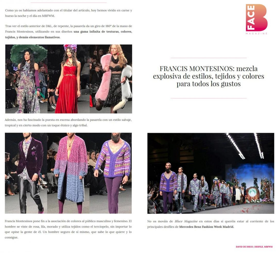 Publicación en la revista digital BFACEMAG. Madrid Fashion Week, 2017