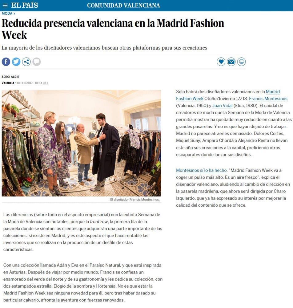 Publicación en el periódico EL PAIS. Madrid Fashion Week, 2017