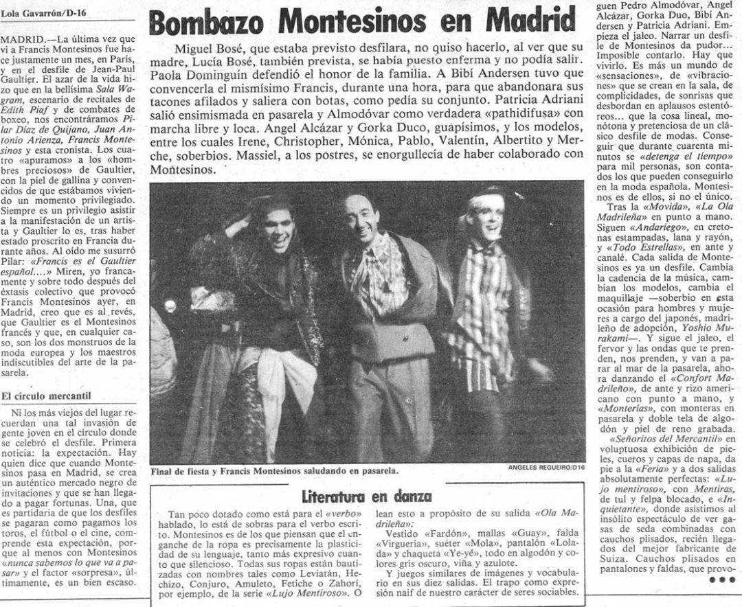 Bombazo Montesinos en Madrid, 1985