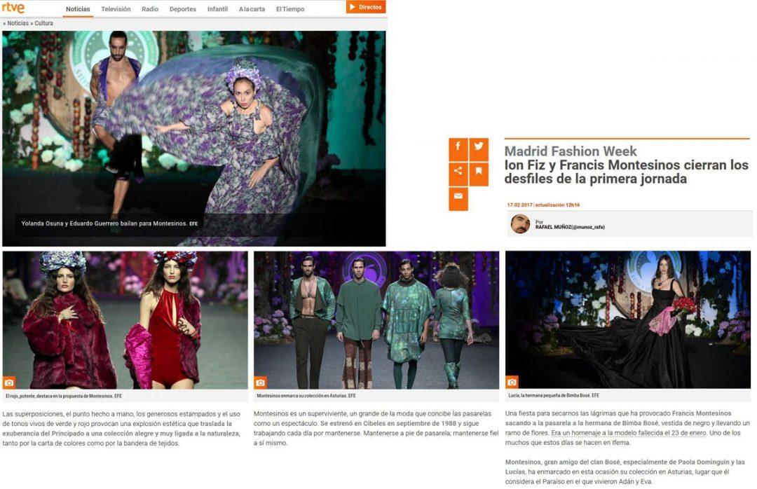 Publicación en el RTVE Noticias. Madrid Fashion Week, 2017
