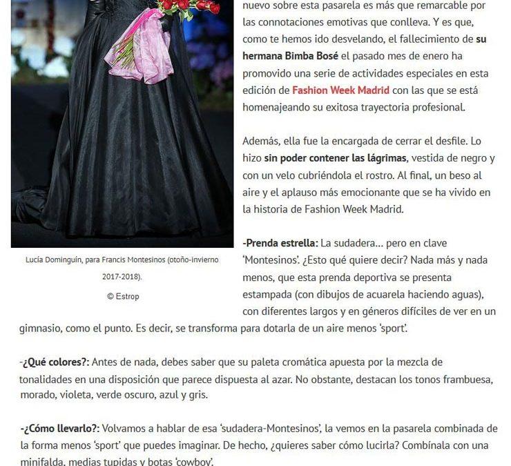 Publicación en la revista HOLA. Madrid Fashion Week, 2017