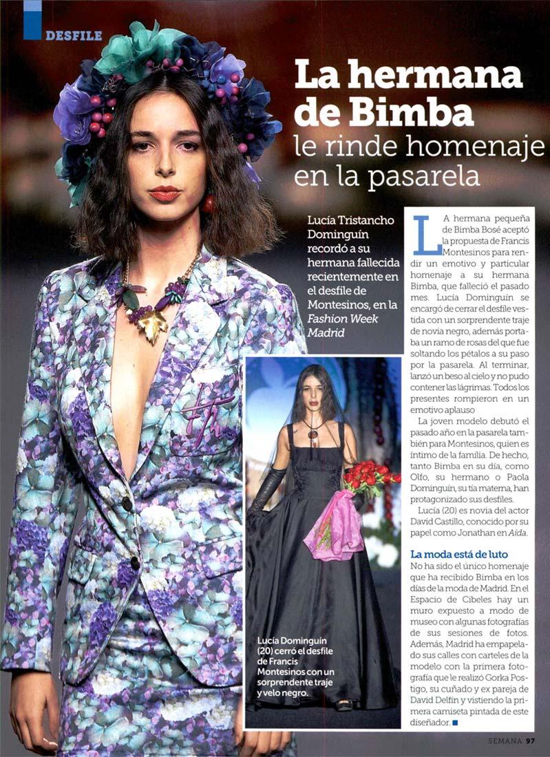 Publicación en la revista SEMANA. Madrid Fashion Week, 2017