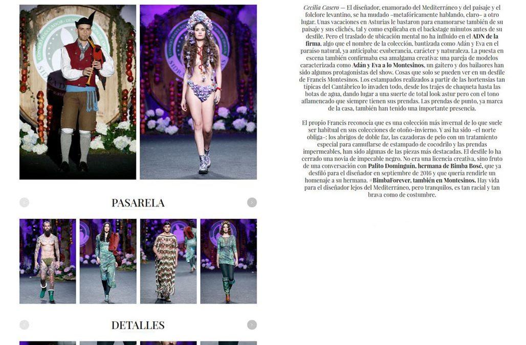 Publicación en la revista VOGUE ESPAÑA. Madrid Fashion Week, 2017