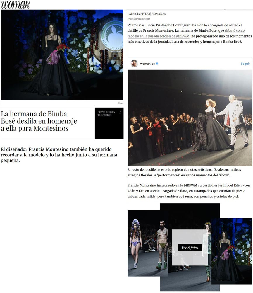 Publicación en la revista digital WOMAN. Madrid Fashion Week, 2017